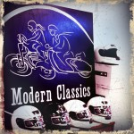 Modern Classics sign and motorcycle helmets